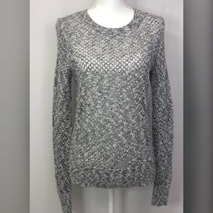 Caslon Long Sleeve Gray/Beige Heather Knit Sweater